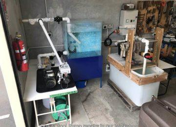 Workshop test bench for salt chlorinators and pool pumps