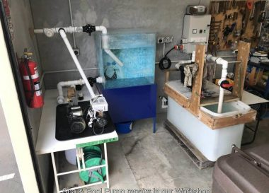 Workshop test bench for salt chlorinators and pool pumps